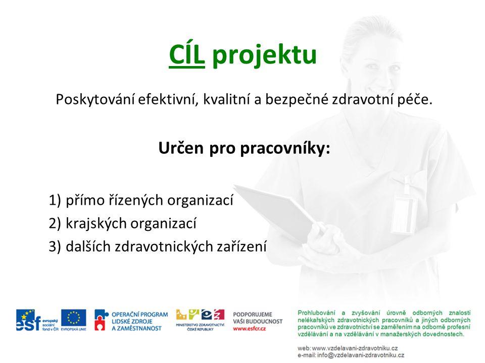 CÍL projektu Poskytování efektivní, kvalitní a bezpečné zdravotní péče. Určen pro pracovníky: 1) přímo řízených organizací 2) krajských organizací 3)