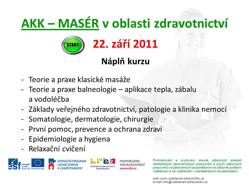 AKK – MASÉR v oblasti zdravotnictví 22. září 2011 Náplň kurzu -Teorie a praxe klasické masáže -Teorie a praxe balneologie – aplikace tepla, zábalu a v