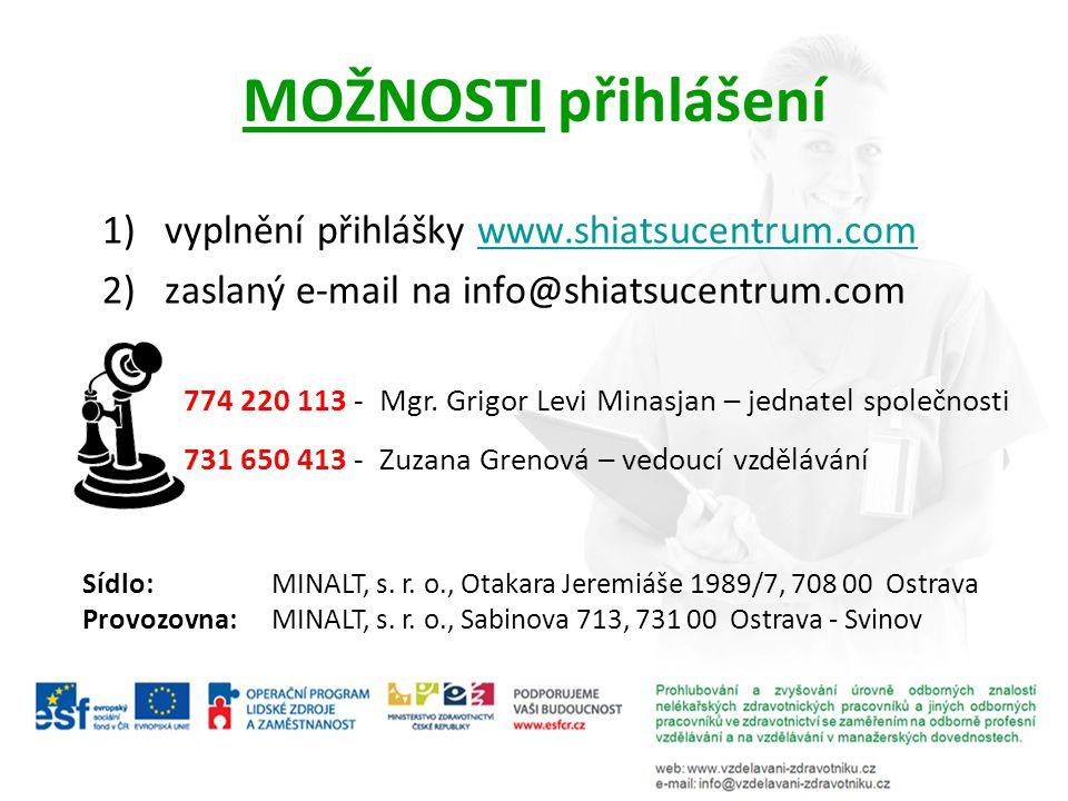 MOŽNOSTI přihlášení 1)vyplnění přihlášky www.shiatsucentrum.comwww.shiatsucentrum.com 2) zaslaný e-mail na info@shiatsucentrum.com 774 220 113 - Mgr.