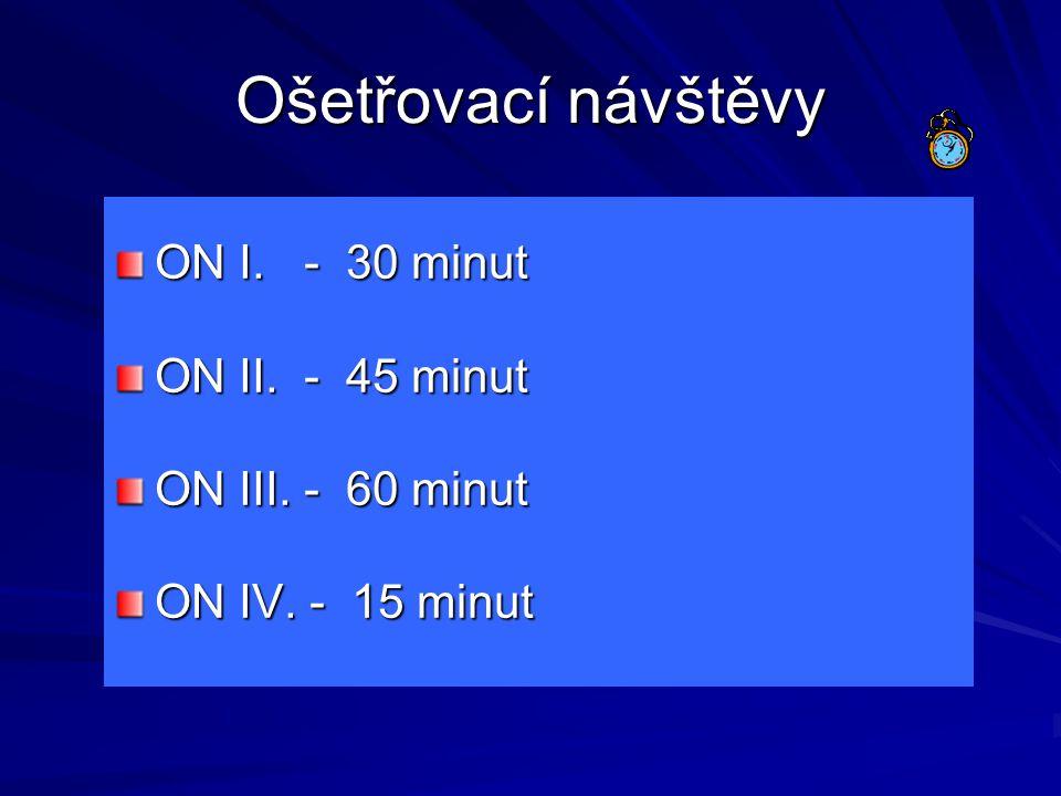 Ošetřovací návštěvy ON I. - 30 minut ON II. - 45 minut ON III. - 60 minut ON IV. - 15 minut
