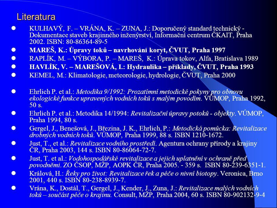 Literatura KULHAVÝ, F. – VRÁNA, K. – ZUNA, J.: Doporučený standard technický - Dokumentace staveb krajinného inženýrství, Informační centrum ČKAIT, Pr