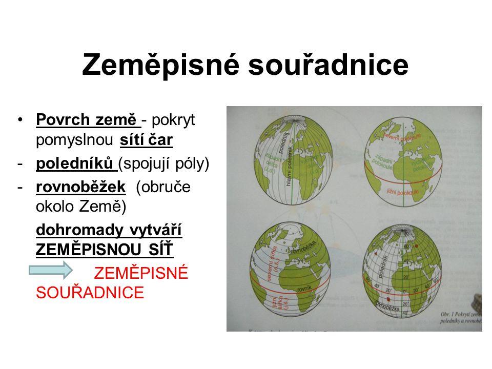 Zeměpisné souřadnice Povrch země - pokryt pomyslnou sítí čar -poledníků (spojují póly) -rovnoběžek (obruče okolo Země) dohromady vytváří ZEMĚPISNOU SÍ