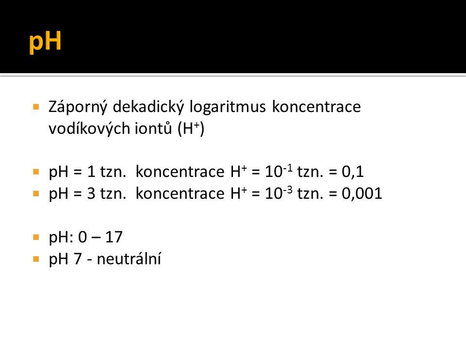 Záporný dekadický logaritmus koncentrace vodíkových iontů (H + )  pH = 1 tzn. koncentrace H + = 10 -1 tzn. = 0,1  pH = 3 tzn. koncentrace H + = 10