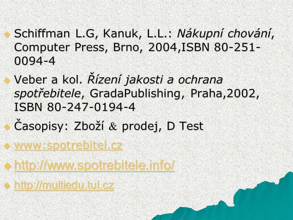  Schiffman L.G, Kanuk, L.L.: Nákupní chování, Computer Press, Brno, 2004,ISBN 80-251- 0094-4  Veber a kol. Řízení jakosti a ochrana spotřebitele, Gr