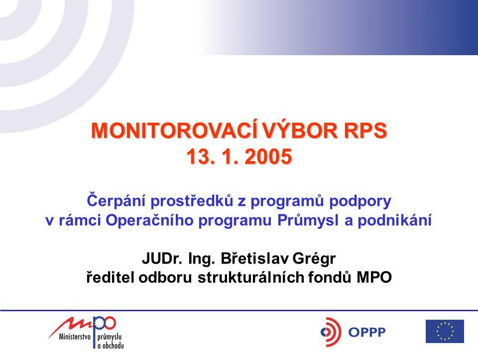 MONITOROVACÍ VÝBOR RPS 13. 1. 2005 Čerpání prostředků z programů podpory v rámci Operačního programu Průmysl a podnikání JUDr. Ing. Břetislav Grégr ře