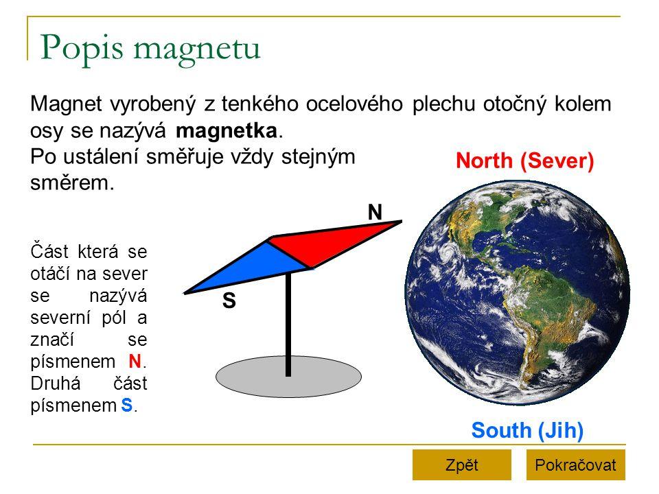 Popis magnetu PokračovatZpět Magnet vyrobený z tenkého ocelového plechu otočný kolem osy se nazývá magnetka. Po ustálení směřuje vždy stejným směrem.