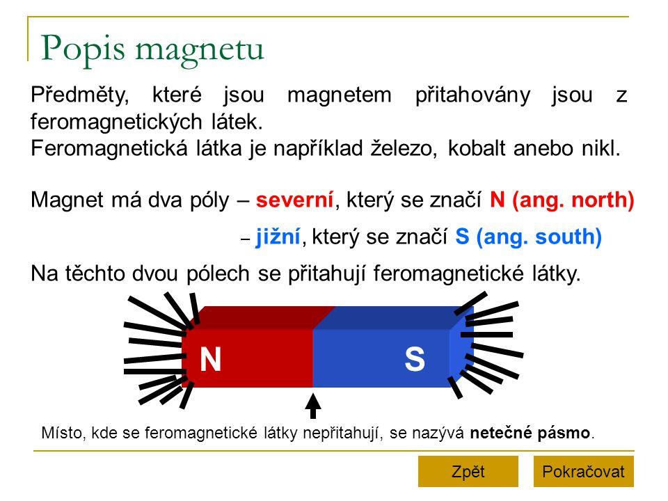 Popis magnetu PokračovatZpět Předměty, které jsou magnetem přitahovány jsou z feromagnetických látek. Feromagnetická látka je například železo, kobalt