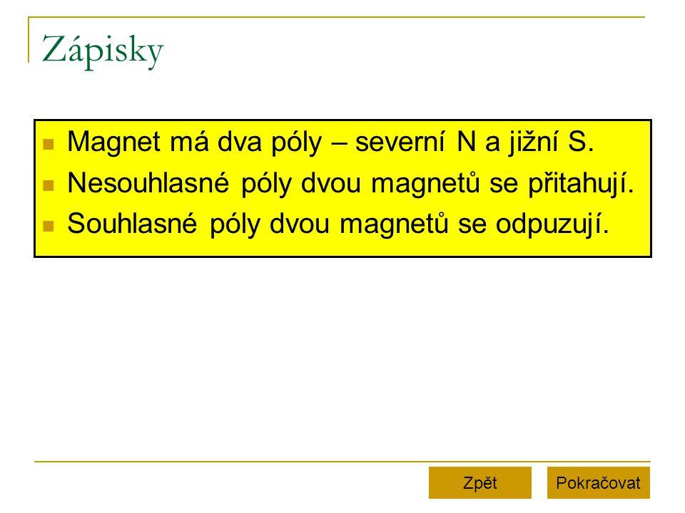 Zápisky Magnet má dva póly – severní N a jižní S. Nesouhlasné póly dvou magnetů se přitahují. Souhlasné póly dvou magnetů se odpuzují. PokračovatZpět