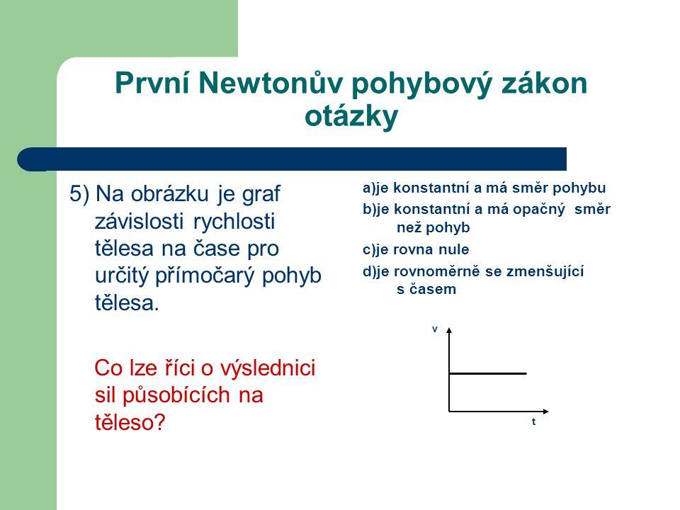 První Newtonův pohybový zákon otázky 5) Na obrázku je graf závislosti rychlosti tělesa na čase pro určitý přímočarý pohyb tělesa.