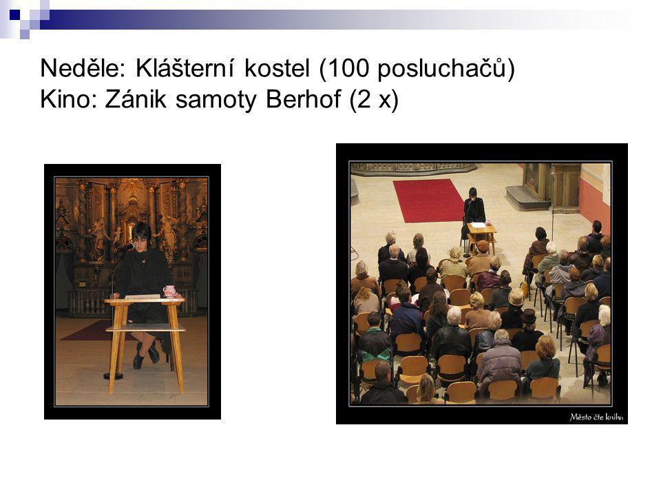Neděle: Klášterní kostel (100 posluchačů) Kino: Zánik samoty Berhof (2 x)