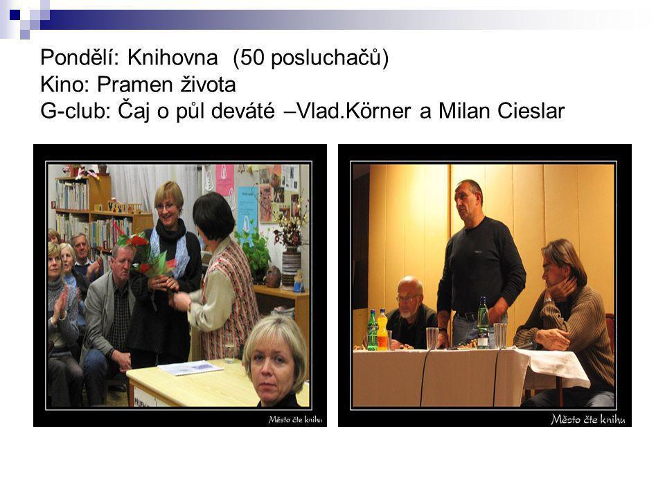 Pondělí: Knihovna (50 posluchačů) Kino: Pramen života G-club: Čaj o půl deváté –Vlad.Körner a Milan Cieslar