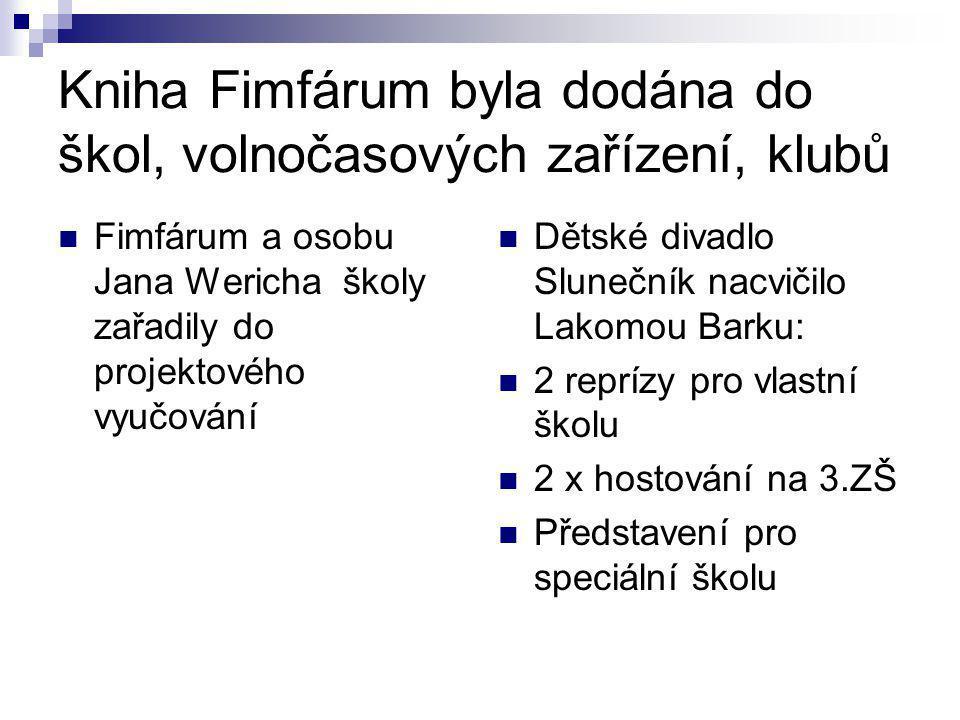 Kniha Fimfárum byla dodána do škol, volnočasových zařízení, klubů Fimfárum a osobu Jana Wericha školy zařadily do projektového vyučování Dětské divadl