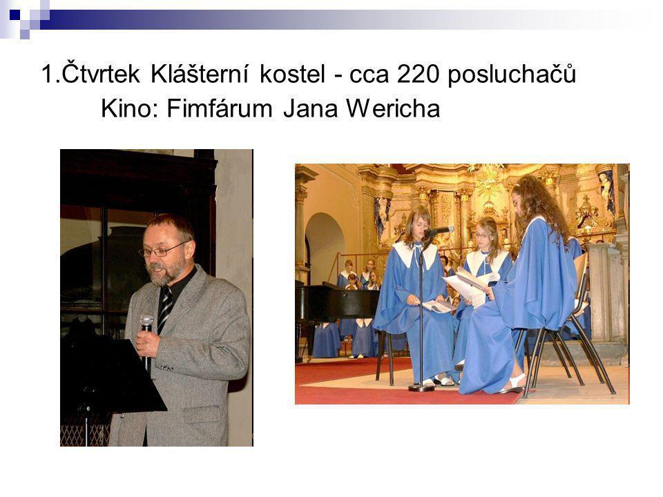 1.Čtvrtek Klášterní kostel - cca 220 posluchačů Kino: Fimfárum Jana Wericha