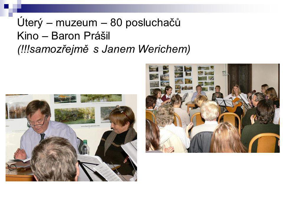 Úterý – muzeum – 80 posluchačů Kino – Baron Prášil (!!!samozřejmě s Janem Werichem)