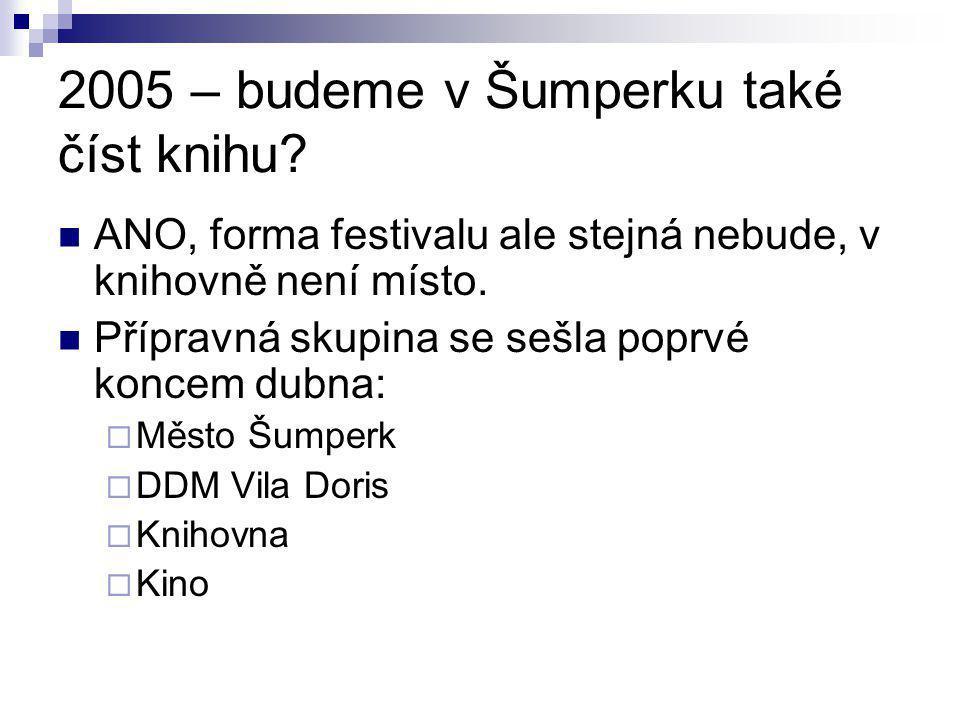 2005 – budeme v Šumperku také číst knihu? ANO, forma festivalu ale stejná nebude, v knihovně není místo. Přípravná skupina se sešla poprvé koncem dubn