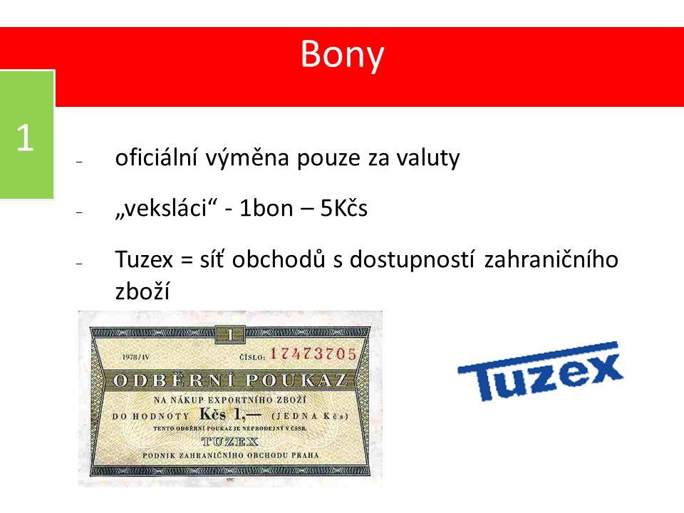"""Bony – oficiální výměna pouze za valuty – """"veksláci"""" - 1bon – 5Kčs – Tuzex = síť obchodů s dostupností zahraničního zboží 03 1"""