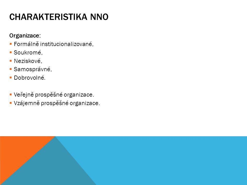 CHARAKTERISTIKA NNO Organizace:  Formálně institucionalizované,  Soukromé,  Neziskové,  Samosprávné,  Dobrovolné.  Veřejně prospěšné organizace.