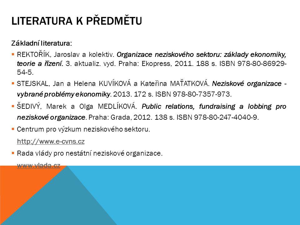 LITERATURA K PŘEDMĚTU Základní literatura:  REKTOŘÍK, Jaroslav a kolektiv. Organizace neziskového sektoru: základy ekonomiky, teorie a řízení. 3. akt