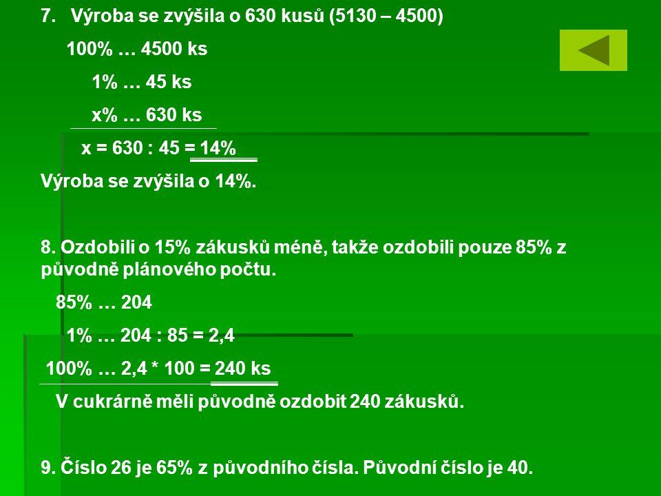 7. Výroba se zvýšila o 630 kusů (5130 – 4500) 100% … 4500 ks 1% … 45 ks x% … 630 ks x = 630 : 45 = 14% Výroba se zvýšila o 14%. 8. Ozdobili o 15% záku