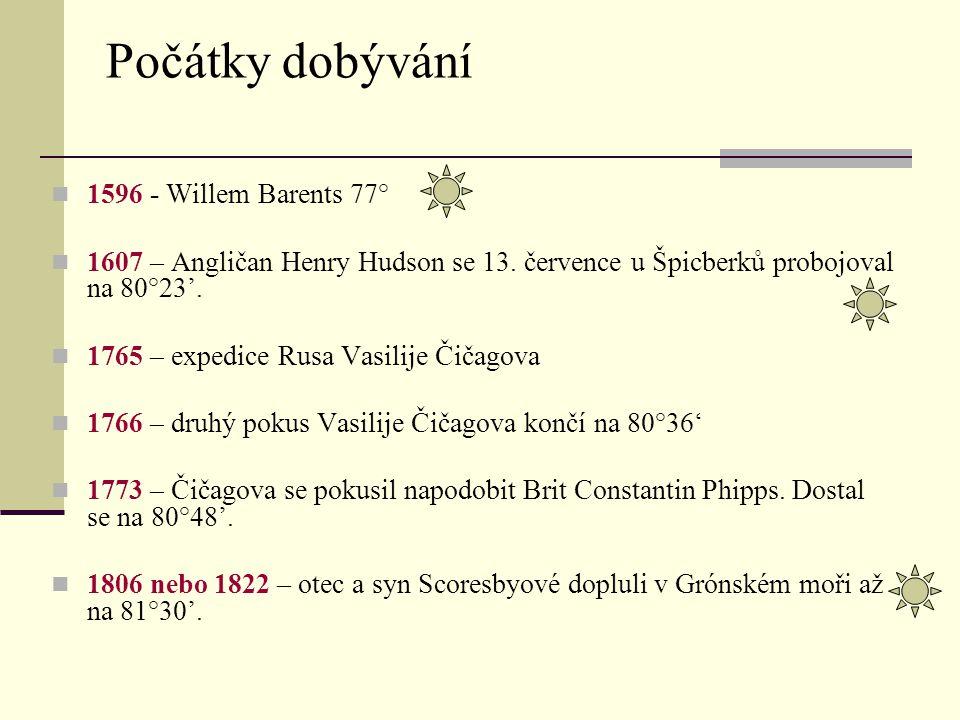 1596 - Willem Barents 77° 1607 – Angličan Henry Hudson se 13. července u Špicberků probojoval na 80°23'. 1765 – expedice Rusa Vasilije Čičagova 1766 –