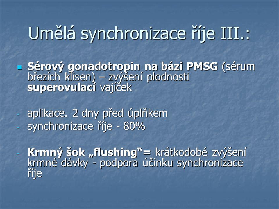 Umělá synchronizace říje III.: Sérový gonadotropin na bázi PMSG (sérum březích klisen) – zvýšení plodnosti superovulací vajíček Sérový gonadotropin na