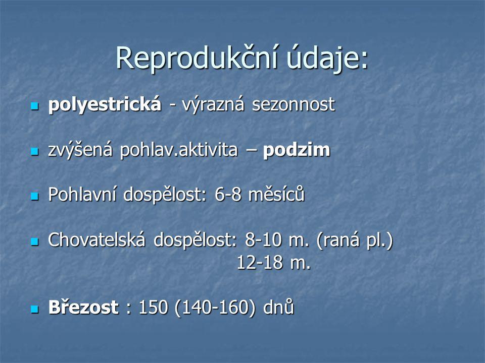 Reprodukční údaje: polyestrická - výrazná sezonnost polyestrická - výrazná sezonnost zvýšená pohlav.aktivita – podzim zvýšená pohlav.aktivita – podzim