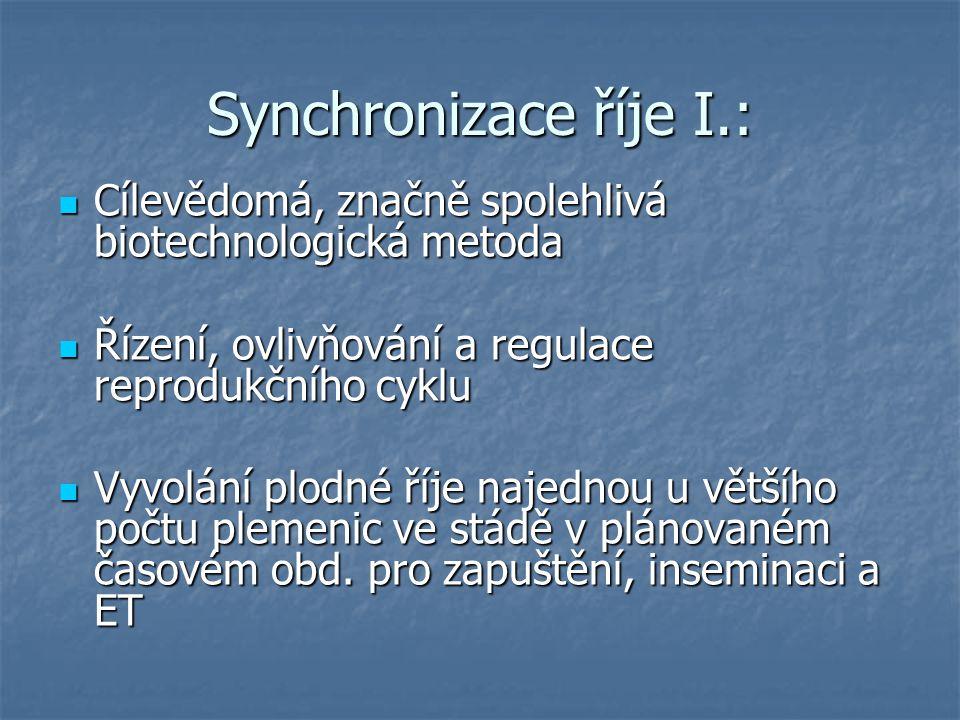 Synchronizace říje I.: Cílevědomá, značně spolehlivá biotechnologická metoda Cílevědomá, značně spolehlivá biotechnologická metoda Řízení, ovlivňování a regulace reprodukčního cyklu Řízení, ovlivňování a regulace reprodukčního cyklu Vyvolání plodné říje najednou u většího počtu plemenic ve stádě v plánovaném časovém obd.
