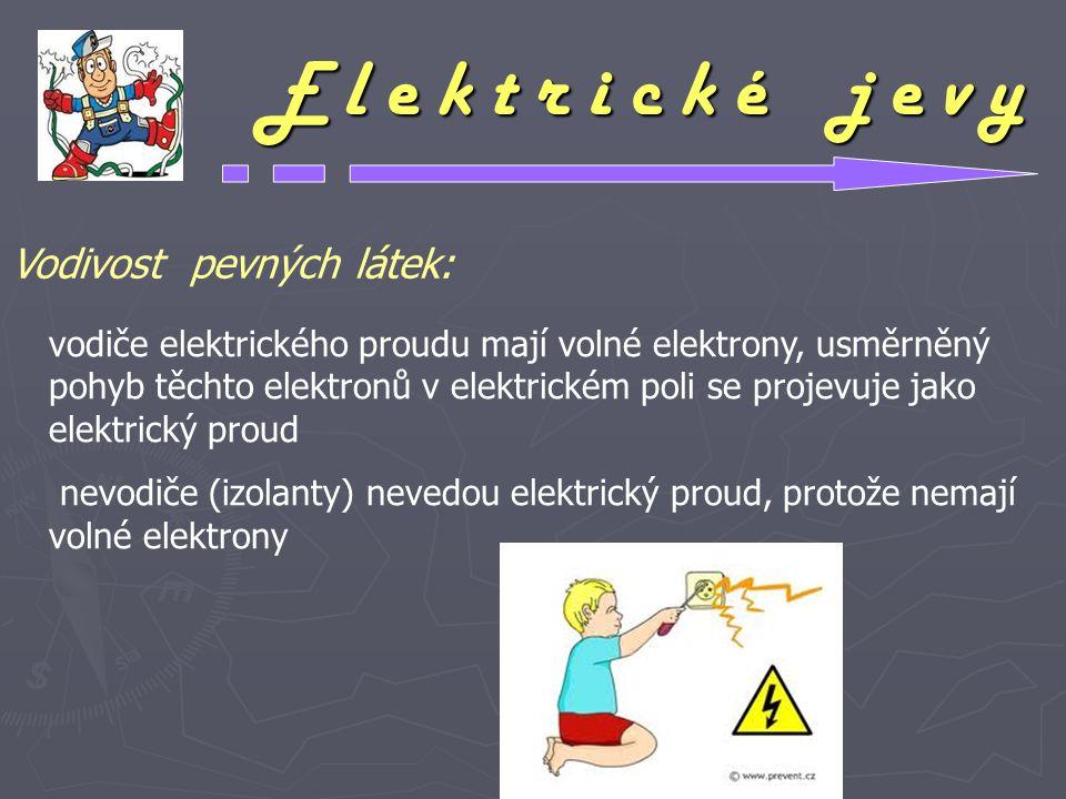 E l e k t r i c k é j e v y vodiče elektrického proudu mají volné elektrony, usměrněný pohyb těchto elektronů v elektrickém poli se projevuje jako ele