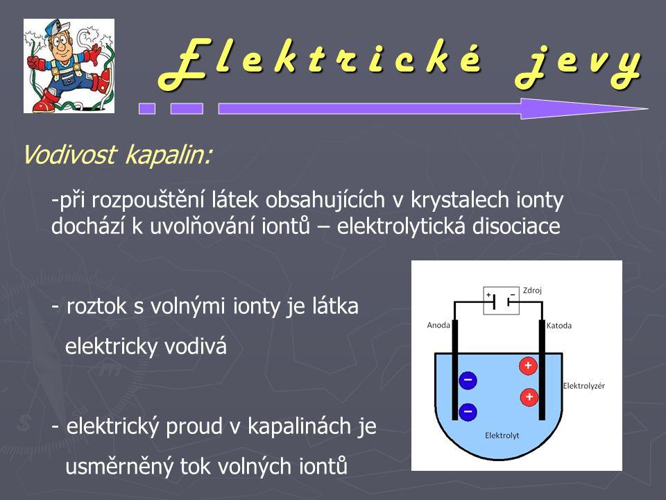 E l e k t r i c k é j e v y Vodivost kapalin: -při rozpouštění látek obsahujících v krystalech ionty dochází k uvolňování iontů – elektrolytická disoc
