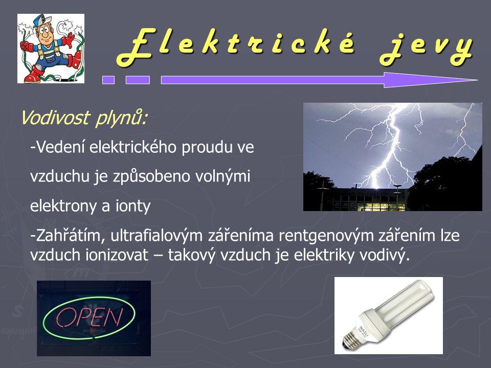 E l e k t r i c k é j e v y Vodivost plynů: -Vedení elektrického proudu ve vzduchu je způsobeno volnými elektrony a ionty -Zahřátím, ultrafialovým zář