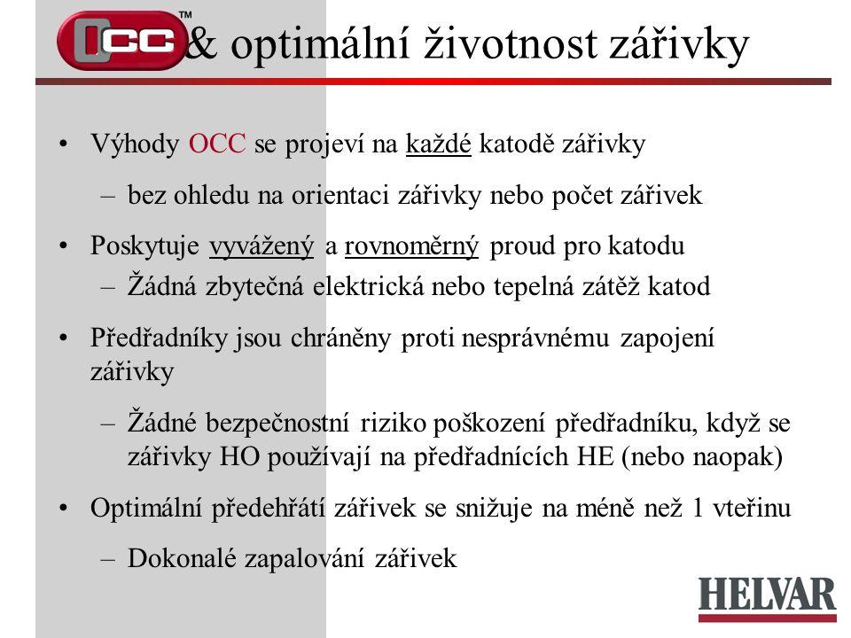 & optimální životnost zářivky Výhody OCC se projeví na každé katodě zářivky –bez ohledu na orientaci zářivky nebo počet zářivek Poskytuje vyvážený a r