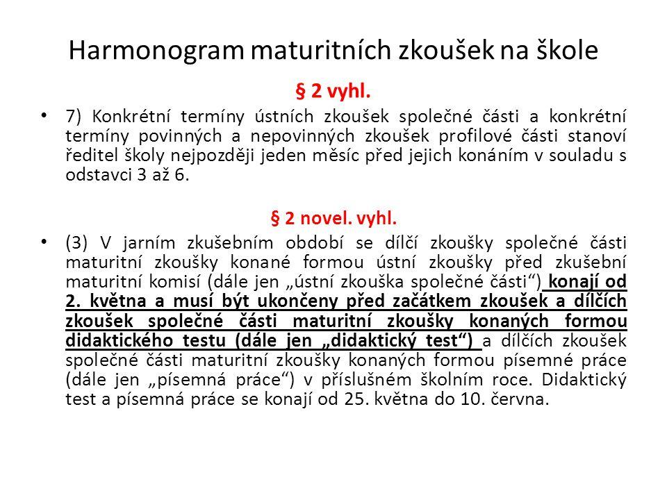 Harmonogram maturitních zkoušek na škole § 2 vyhl. 7) Konkrétní termíny ústních zkoušek společné části a konkrétní termíny povinných a nepovinných zko