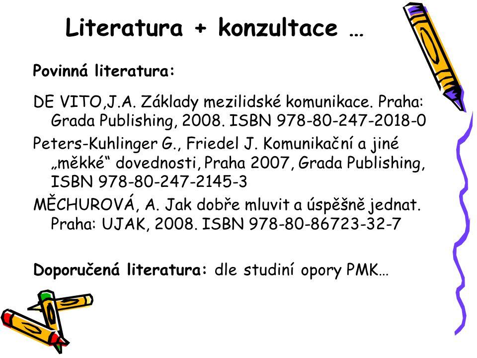 Literatura + konzultace … Povinná literatura: DE VITO,J.A. Základy mezilidské komunikace. Praha: Grada Publishing, 2008. ISBN 978-80-247-2018-0 Peters