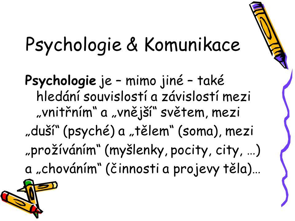 """Psychologie & Komunikace Psychologie je – mimo jiné – také hledání souvislostí a závislostí mezi """"vnitřním"""" a """"vnější"""" světem, mezi """"duší"""" (psyché) a"""