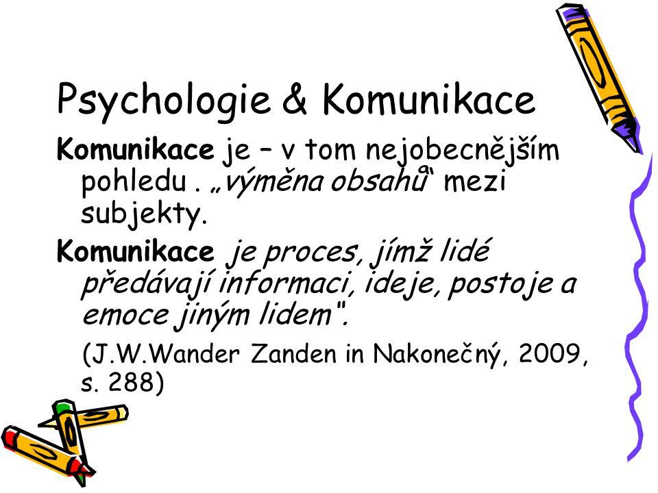 """Psychologie & Komunikace Komunikace je – v tom nejobecnějším pohledu. """"výměna obsahů"""" mezi subjekty. Komunikace je proces, jímž lidé předávají informa"""