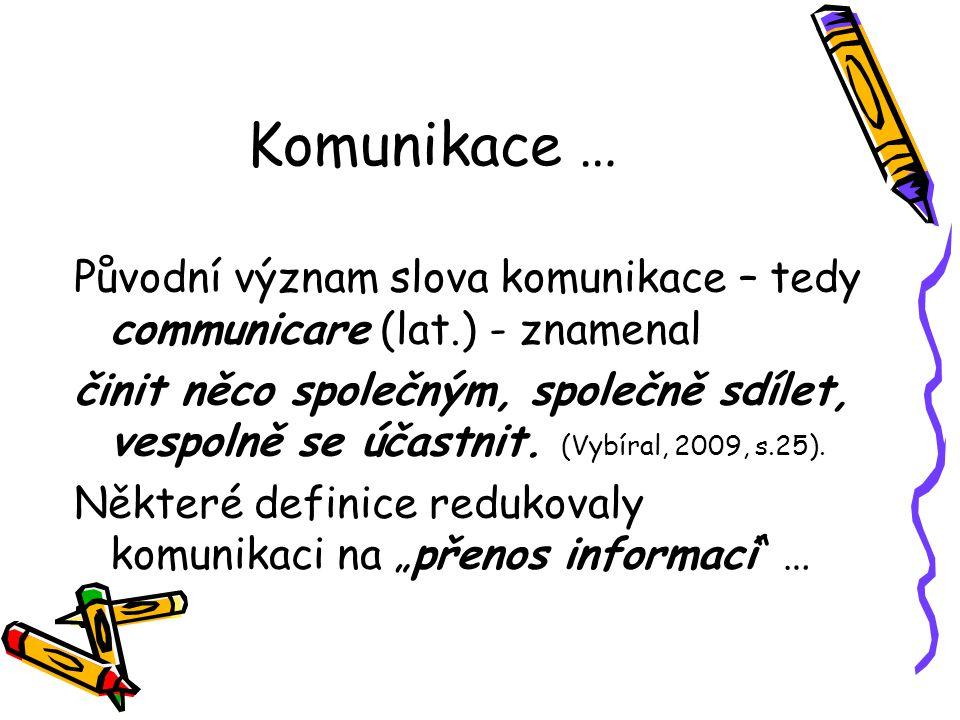 Komunikace … Původní význam slova komunikace – tedy communicare (lat.) - znamenal činit něco společným, společně sdílet, vespolně se účastnit. (Vybíra