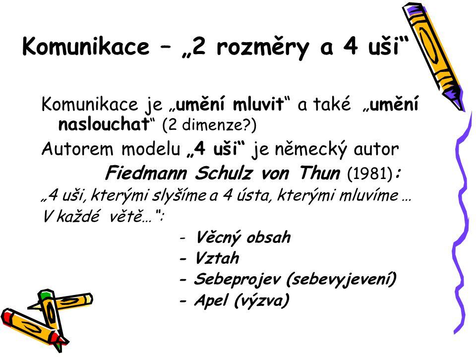 """Komunikace – """"2 rozměry a 4 uši"""" Komunikace je """"umění mluvit"""" a také """"umění naslouchat """" (2 dimenze?) Autorem modelu """"4 uši"""" je německý autor Fiedmann"""