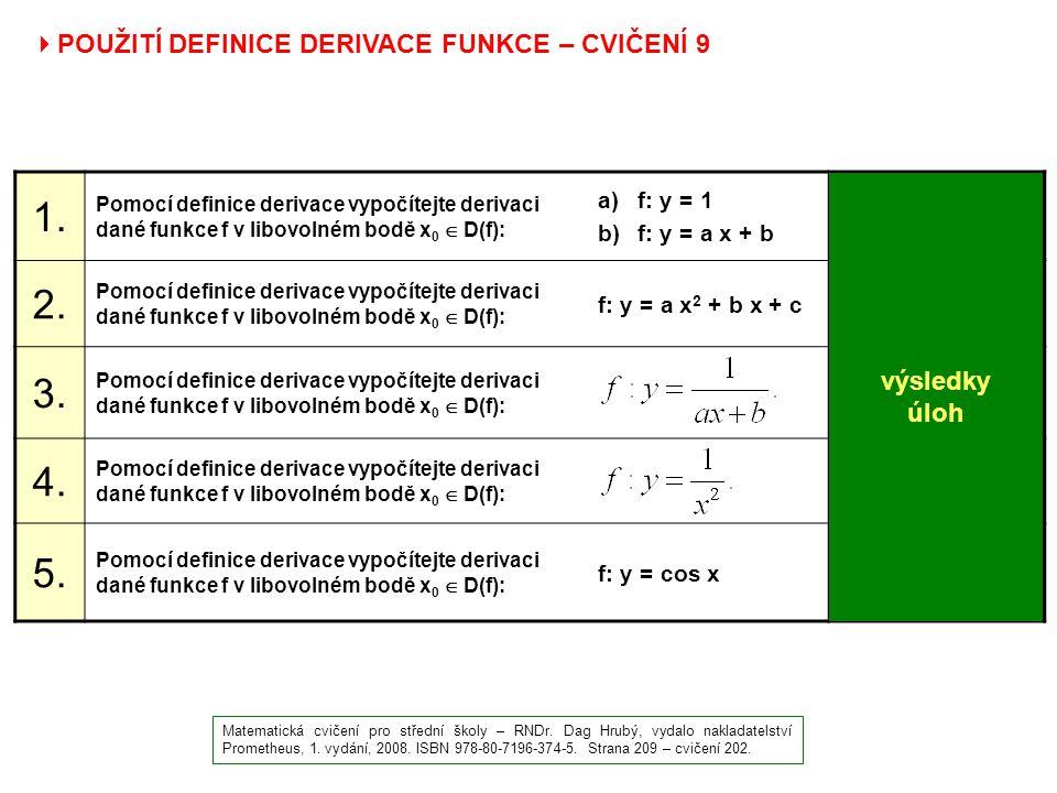  POUŽITÍ DEFINICE DERIVACE FUNKCE – CVIČENÍ 9 Matematická cvičení pro střední školy – RNDr. Dag Hrubý, vydalo nakladatelství Prometheus, 1. vydání, 2