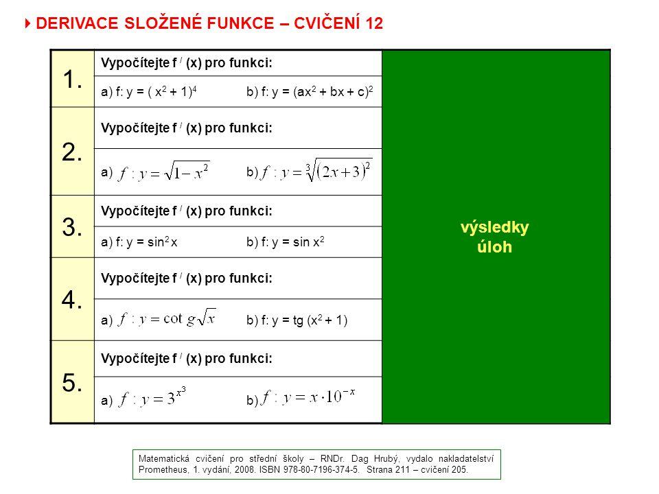  DERIVACE SLOŽENÉ FUNKCE – CVIČENÍ 12 Matematická cvičení pro střední školy – RNDr. Dag Hrubý, vydalo nakladatelství Prometheus, 1. vydání, 2008. ISB