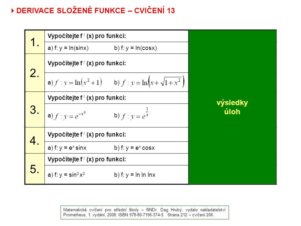  DERIVACE SLOŽENÉ FUNKCE – CVIČENÍ 13 Matematická cvičení pro střední školy – RNDr. Dag Hrubý, vydalo nakladatelství Prometheus, 1. vydání, 2008. ISB