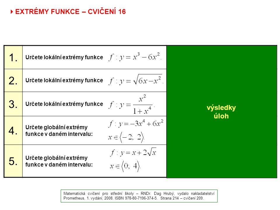  EXTRÉMY FUNKCE – CVIČENÍ 16 Matematická cvičení pro střední školy – RNDr. Dag Hrubý, vydalo nakladatelství Prometheus, 1. vydání, 2008. ISBN 978-80-