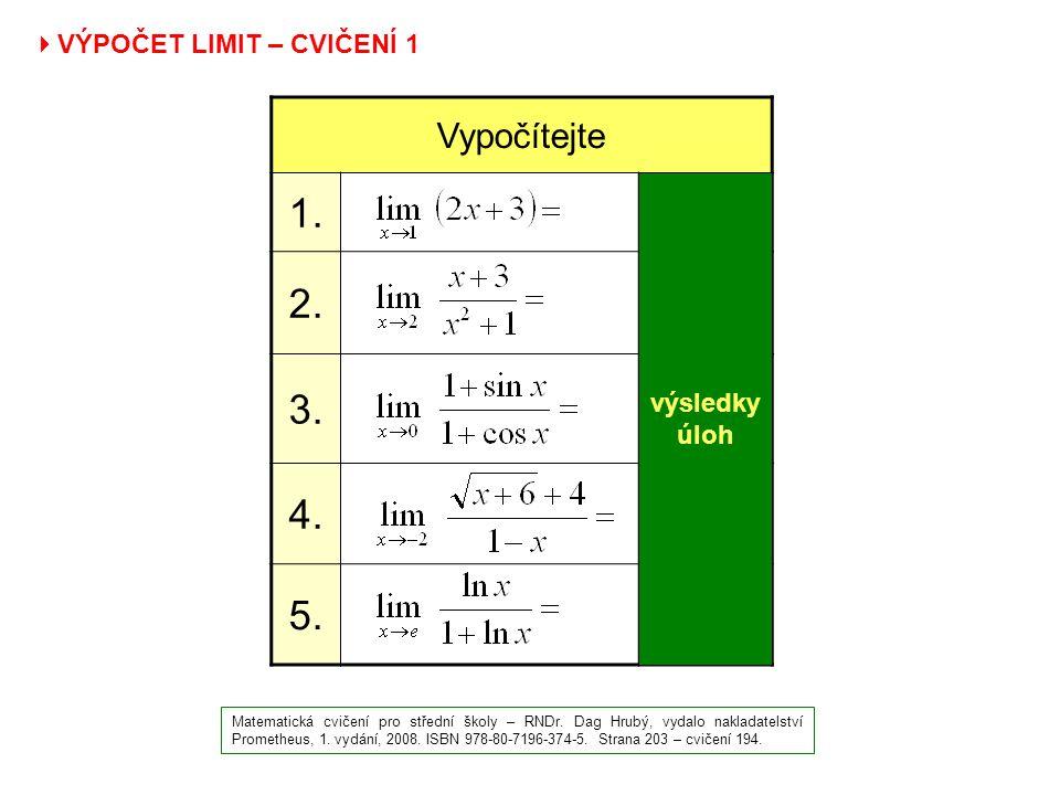  VÝPOČET LIMIT – CVIČENÍ 1 Matematická cvičení pro střední školy – RNDr. Dag Hrubý, vydalo nakladatelství Prometheus, 1. vydání, 2008. ISBN 978-80-71