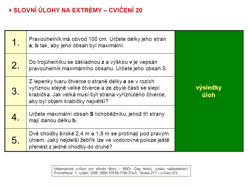  SLOVNÍ ÚLOHY NA EXTRÉMY – CVIČENÍ 20 Matematická cvičení pro střední školy – RNDr. Dag Hrubý, vydalo nakladatelství Prometheus, 1. vydání, 2008. ISB