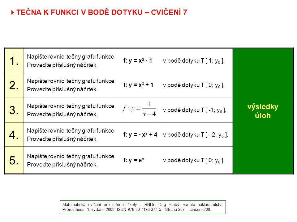  TEČNA K FUNKCI V BODĚ DOTYKU – CVIČENÍ 7 Matematická cvičení pro střední školy – RNDr. Dag Hrubý, vydalo nakladatelství Prometheus, 1. vydání, 2008.