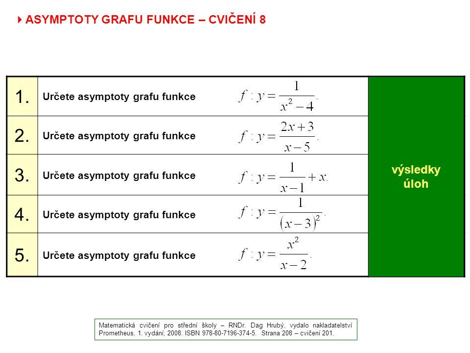  ASYMPTOTY GRAFU FUNKCE – CVIČENÍ 8 Matematická cvičení pro střední školy – RNDr. Dag Hrubý, vydalo nakladatelství Prometheus, 1. vydání, 2008. ISBN