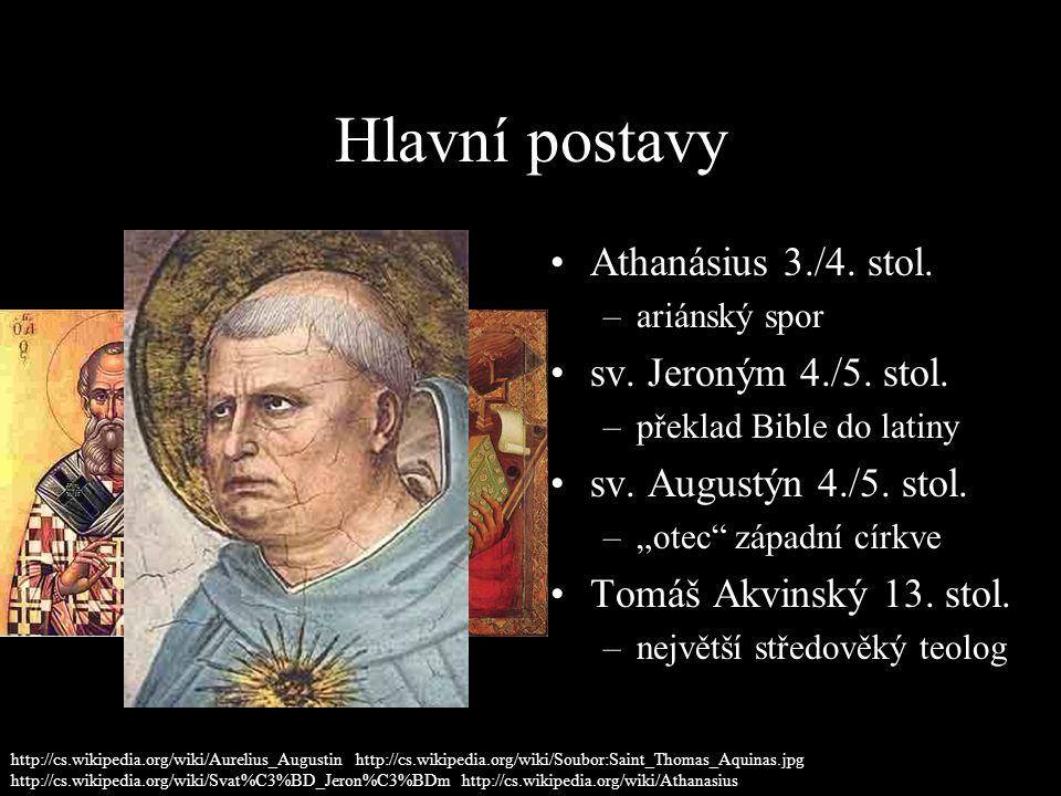 Hlavní postavy Athanásius 3./4. stol. –ariánský spor sv.