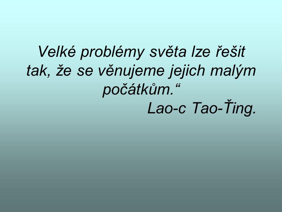 """Velké problémy světa lze řešit tak, že se věnujeme jejich malým počátkům."""" Lao-c Tao-Ťing."""