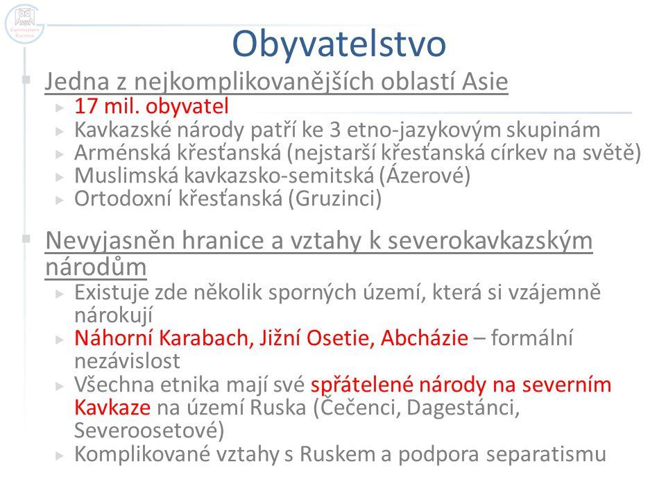 Komplikovaná etnická skladba Kavkazu (červeně je vyznačena hranice s Ruskem) Autor: Temo Blumgardt, Název: Ethnic_Groups_In_Caucasus_Region_2009.jpg Zdroj: http://commons.wikimedia.org/wiki/File:Ethnic_Groups_In _Caucasus_Region_2009.jpg