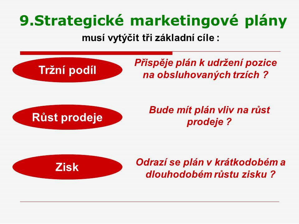 9.Strategické marketingové plány musí vytýčit tři základní cíle : Tržní podíl Růst prodeje Zisk Přispěje plán k udržení pozice na obsluhovaných trzích