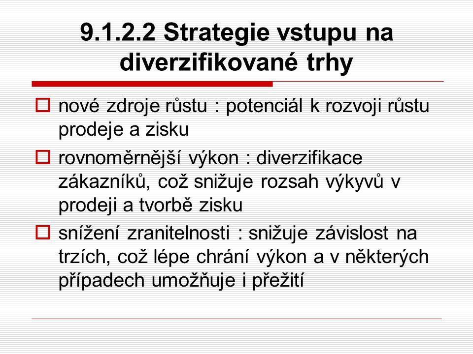 9.1.2.2 Strategie vstupu na diverzifikované trhy  nové zdroje růstu : potenciál k rozvoji růstu prodeje a zisku  rovnoměrnější výkon : diverzifikace
